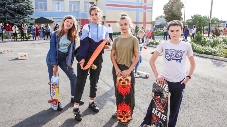 У школярів Костянтинівки з'явилося сучасне обладнання для скейтбордингу