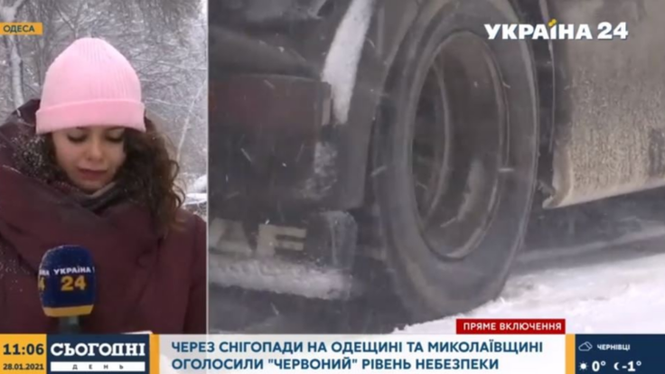 """В Одесі апокаліпсис - кореспондентка """"Україна 24"""" про погоду на півдні країни (відео)"""