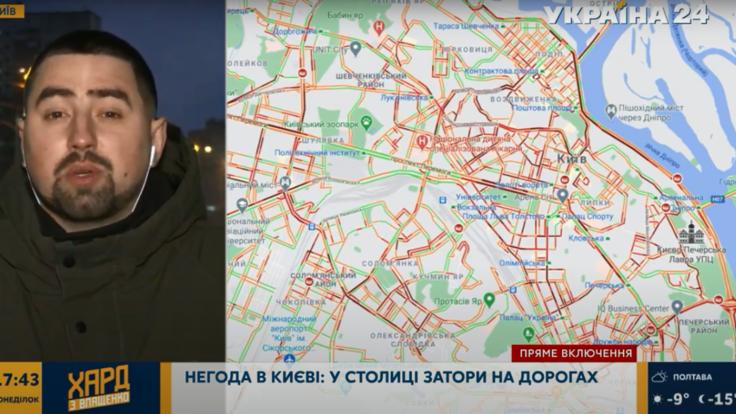 """Снегопад в Киеве - корреспондент """"Украина 24"""" рассказал о ситуации на дорогах"""